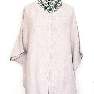 100% Linen Lagenlook Button Down Shirt Top